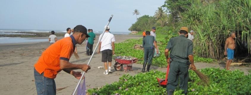 Cleaning the rubbish around Dajuma Puri Dajuma, Beach Eco-Resort & Spa, West Bali