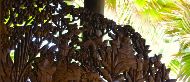 Wood carving in Bali Puri Dajuma, Beach Eco-Resort & Spa, West Bali