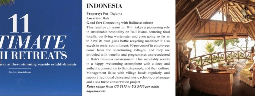 DAJUMA IN ECOZINE MAGAZINE Puri Dajuma, Beach Eco-Resort & Spa, West Bali