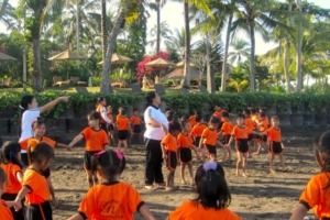 EXERCISE ON THE BEACH Puri Dajuma, Beach Eco-Resort & Spa, West Bali