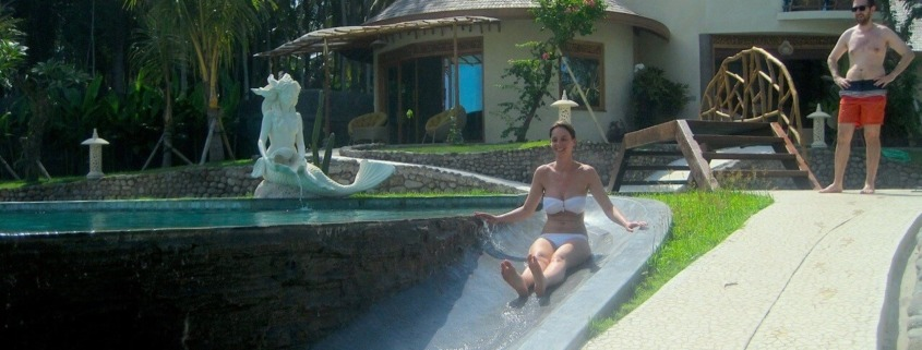 WATER SLIDE: A NICE MOMENT OF RELAX REMINDING OUR CHILDHOOD! Puri Dajuma, Beach Eco-Resort & Spa, West Bali
