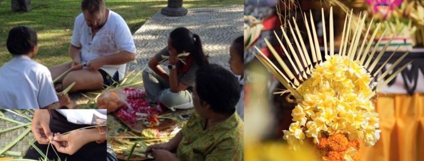 Balinese floral decoration Puri Dajuma, Beach Eco-Resort & Spa, West Bali