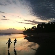 SUNSET TIME FOR CALYPSO & LOLA Puri Dajuma, Beach Eco-Resort & Spa, West Bali beach sunset