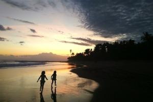 SUNSET TIME FOR CALYPSO & LOLA Puri Dajuma, Beach Eco-Resort & Spa, West Bali beach sunset