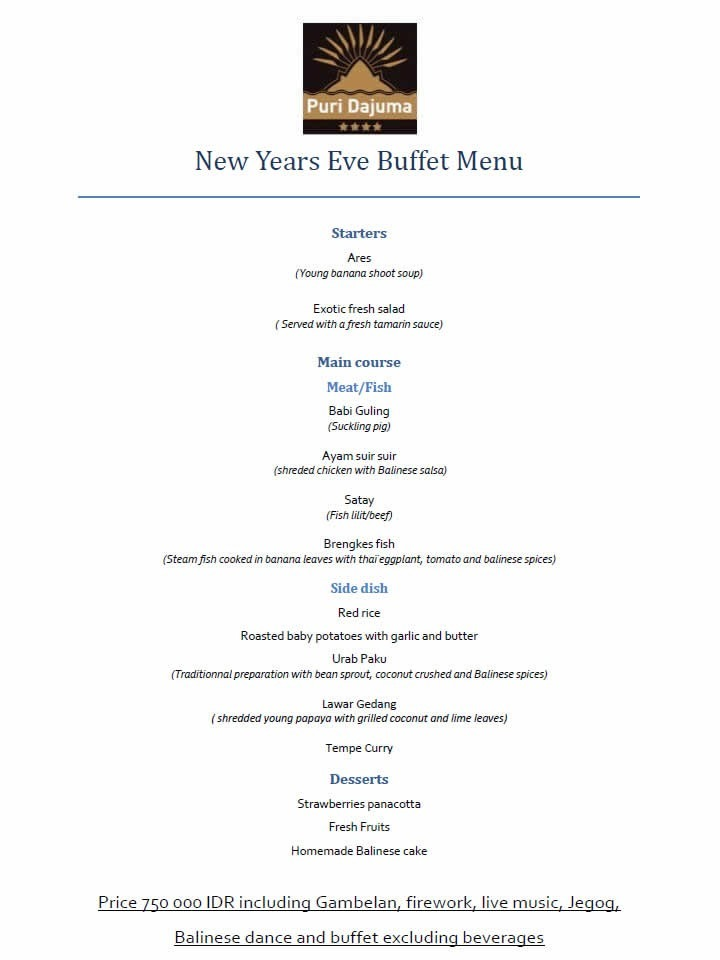 Dajuma New Years Buffet Menu