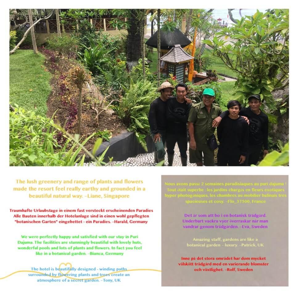 THE TEAM BEHIND THE BEAUTIFUL DAJUMA GARDEN Puri Dajuma, Beach Eco-Resort & Spa, West Bali
