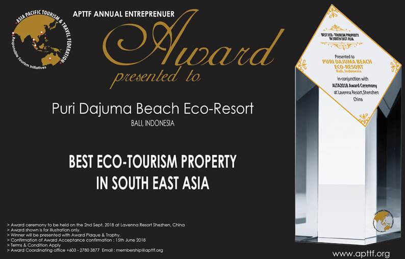 NEW AWARD FOR DAJUMA Puri Dajuma, Beach Eco-Resort & Spa, West Bali