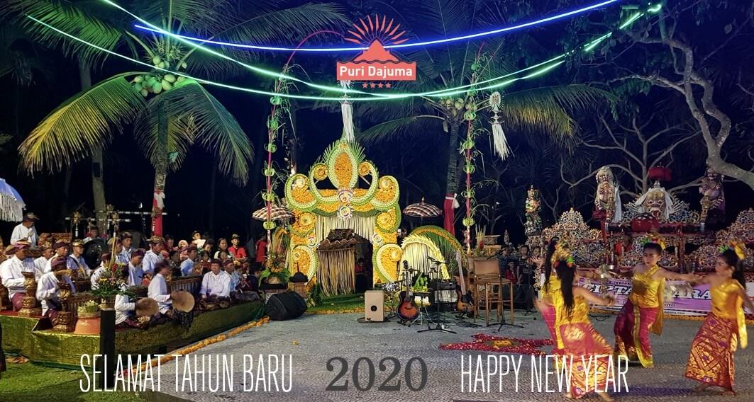 HAPPY NEW YEAR! Puri Dajuma, Beach Eco-Resort & Spa, West Bali music jegog gamelan dancing